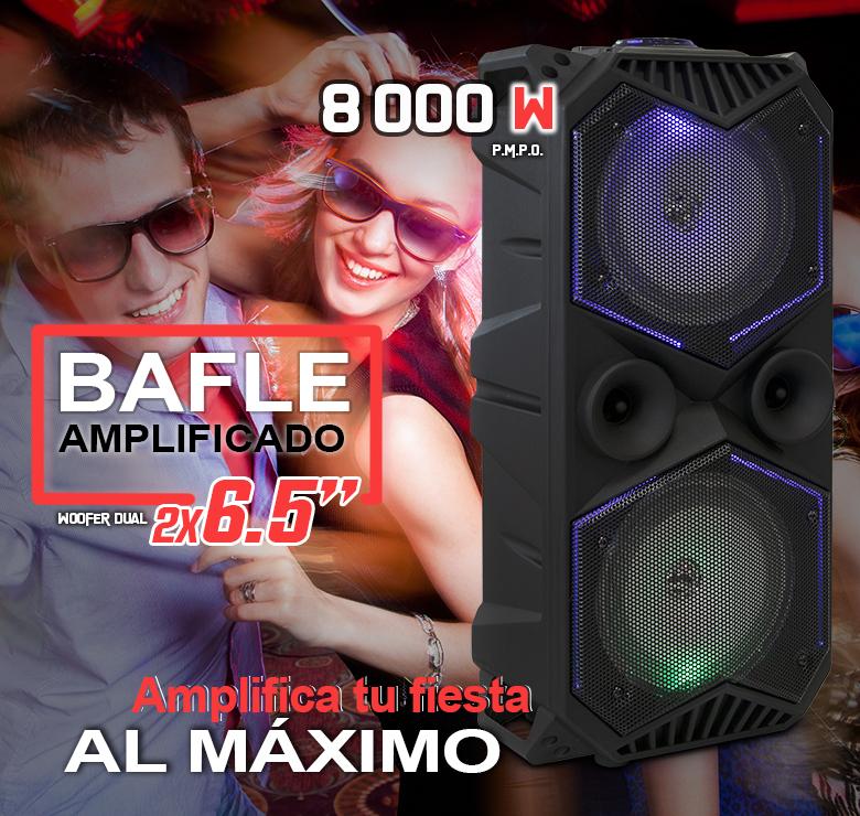 "Foto de BAFLE AMPLIFICADO DE 2X6.5""/8000W PMPO/RECARGABLE/BLUETOOTH/USB/SD/FM/LUZ LED/MIC ALAMBRICO"