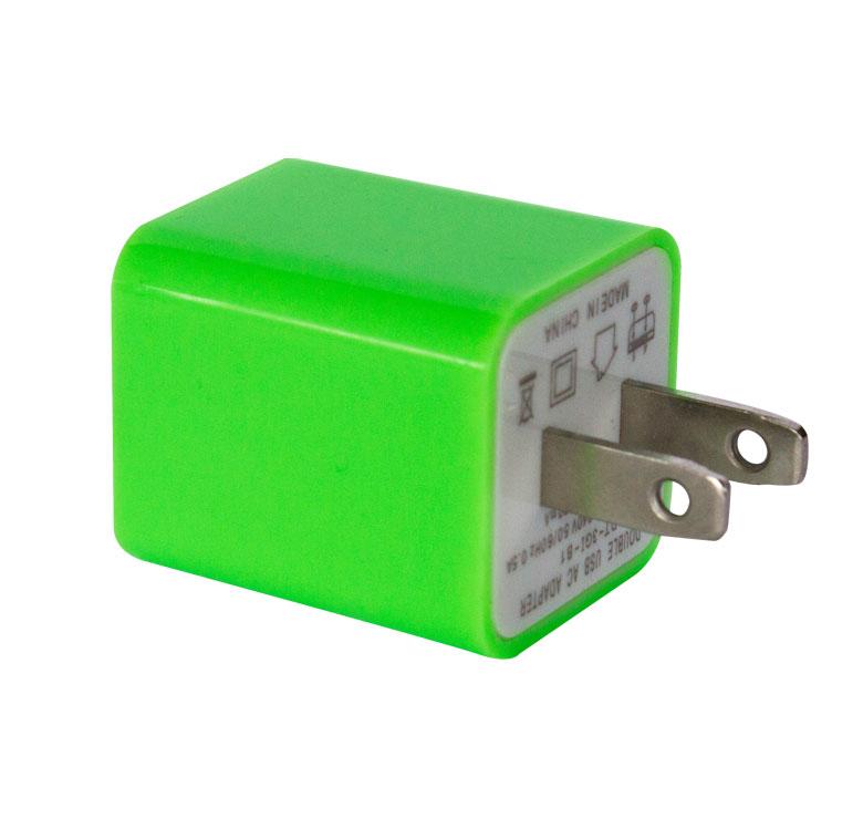 Imagen de CLAVIJA CON ENTRADA USB DUAL VERDE